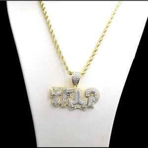 Other - 14k Gold Finish Lab Diamond TRAP Charm Chain Set